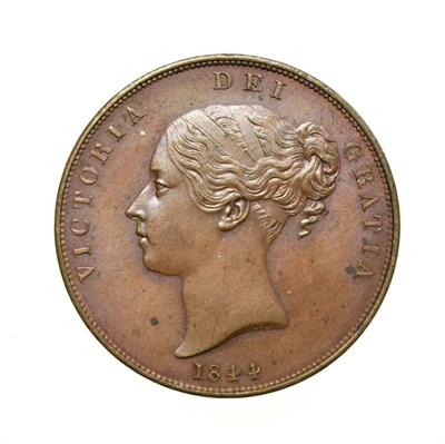 Lot 4037 - Victoria, 1844 Penny. Obv: Young head left, W.W. on truncation, 1844 below. Rev: Britannia...