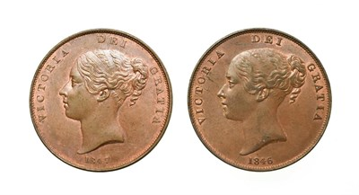 Lot 4038 - Victoria, 2 x Young Head Pennies, 1846, 1847. Obvs: Young head left, W.W. on truncation, dates...