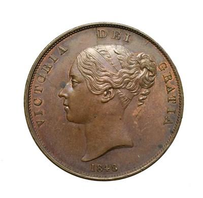 Lot 4040 - Victoria, 1848/6 Penny. Obv: Young head left, W.W. on truncation, 1848/8 below. Rev: Britannia...