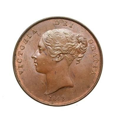 Lot 4041 - Victoria, 1848/7 Penny. Obv: Young head left, W.W. on truncation, 1848/7 below. Rev: Britannia...