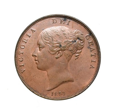 Lot 4043 - Victoria, 1853 Penny. Obv: Young head left, W.W. on truncation, 1853 below. Rev: Britannia...