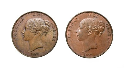 Lot 4045 - Victoria, 2 x Young Head Pennies, 1858, 1858/7. Obv: Young head left, W.W. on truncation, dates...