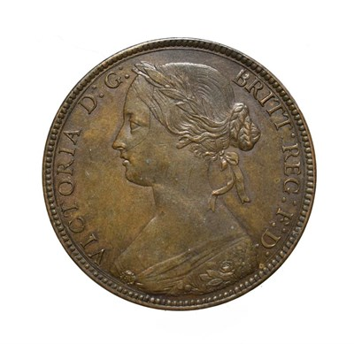 Lot 4046 - Victoria, 1860 Penny. ''Bun head'' type. Obv: 1, Laureate and draped bust left, hair tied in a bun
