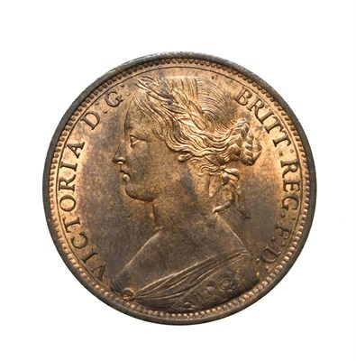 Lot 4049 - Victoria, 1865 Penny. ''Bun head'' type. Obv: 6, Laureate and draped bust left, hair tied in a bun.