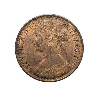 Lot 4050 - Victoria, 1866 Penny. ''Bun head'' type. Obv: 6, Laureate and draped bust left, hair tied in a bun.