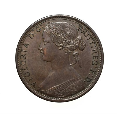 Lot 4051 - Victoria, 1867 Penny. ''Bun head'' type. Obv: 6, Laureate and draped bust left, hair tied in a bun.