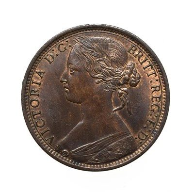Lot 4052 - Victoria, 1868 Penny. ''Bun head'' type. Obv: 6, Laureate and draped bust left, hair tied in a bun.