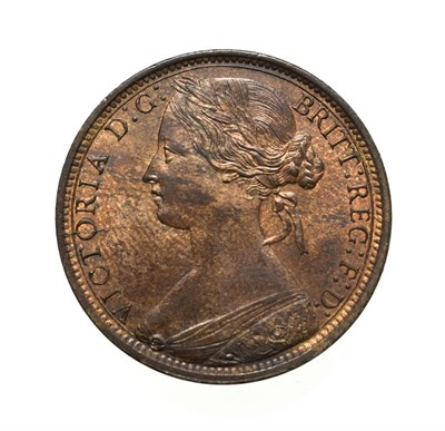 Lot 4053 - Victoria, 1869 Penny. ''Bun head'' type. Obv: 6, Laureate and draped bust left, hair tied in a bun.