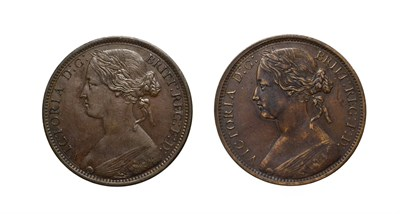Lot 4054 - Victoria, 2 x Pennies, 1870, 1872. ''Bun head'' type. Obv: 6, Laureate and draped bust left,...