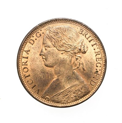 Lot 4055 - Victoria, 1873 Penny. ''Bun head'' type. Obv: 6, Laureate and draped bust left, hair tied in a bun.