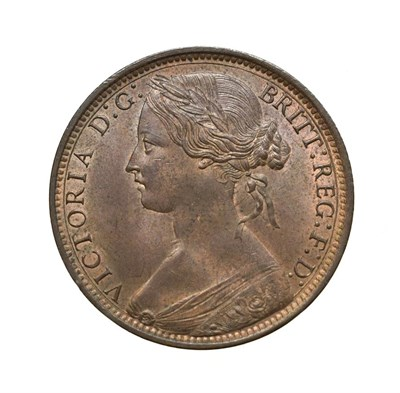 Lot 4056 - Victoria, 1874 H Penny. Heaton mint, Birmingham, ''bun head'' type. Obv: 7, ''older'', laureate and