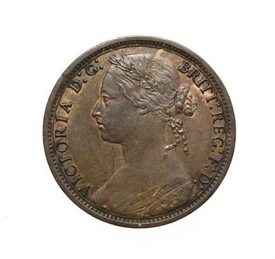 Lot 4057 - Victoria, 1874 Penny. ''Bun head'' type. Obv:7, laureate and draped bust left, hair tied in a...