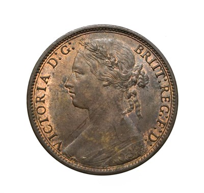 Lot 4058 - Victoria, 1875 Penny. ''Bun head'' type. Obv:8, laureate and draped bust left, hair tied in a...