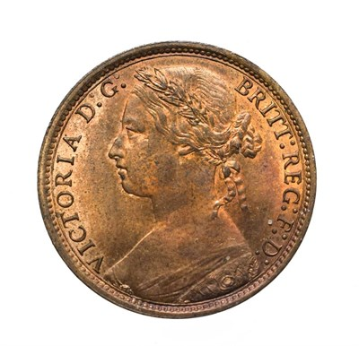 Lot 4060 - Victoria, 1877 Penny. ''Bun head'' type. Obv:8, laureate and draped bust left, hair tied in a...