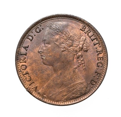 Lot 4061 - Victoria, 1879 Penny. ''Bun head'' type. Obv:9, laureate and draped bust left, hair tied in a...