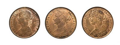 Lot 4064 - 3 x Victoria, Pennies, 1883, 1884, 1886. ''Bun head'' type. Obv: Laureate and draped bust left,...