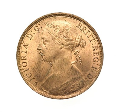 Lot 4065 - Victoria, 1888 Penny. ''Bun head'' type. Obv:12, laureate and draped bust left, hair tied in a bun.