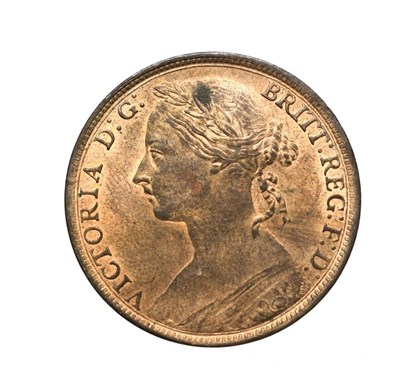 """Lot 4066 - Victoria, 1894 Penny. """"Bun head"""" type. Obv:12, laureate and draped bust left, hair tied in a..."""