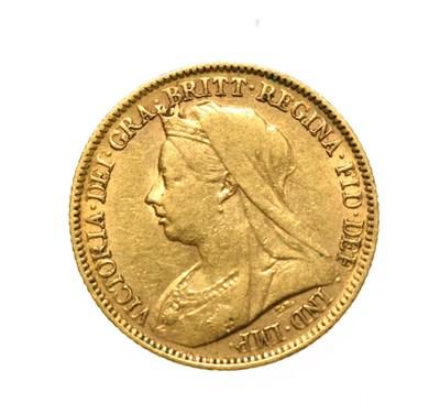 Lot 4067 - Victoria, 1900 Perth Mint Half-Sovereign. Obv: Old, veiled head of Victoria left, T.B. below...