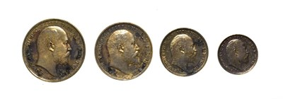 Lot 4069 - Edward VII, 1906 4-Coin Maundy Set comprised of: groat, threepence, twopence and penny. Obvs:...