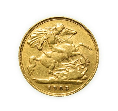 Lot 4071 - Edward VII 1903 Perth Mint Half-Sovereign. Obv: Older, crowned and veiled head of Victoria...