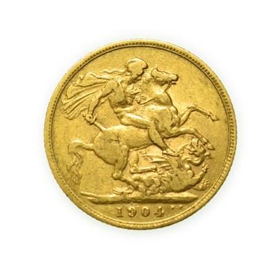 Lot 4072 - Edward VII, 1904 Sovereign. Obv: Bare head of Edward VII right, DES below truncation for...