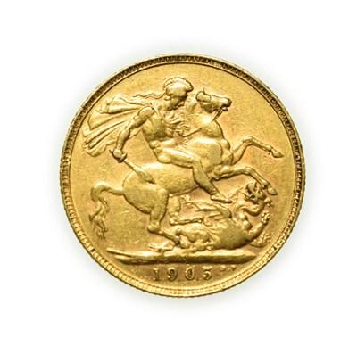 Lot 4073 - Edward VII, 1905 P Perth Mint Sovereign. Obv: Bare head of Edward VII right, DES below...