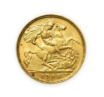 Lot 4074 - Edward VII, 1905 Half-Sovereign. Obv: Bare head of Edward VII right, DES below truncation for...