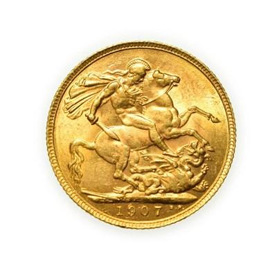 Lot 4076 - Edward VII, 1907 Sovereign. Obv: Bare head of Edward VII right, DES below truncation for...