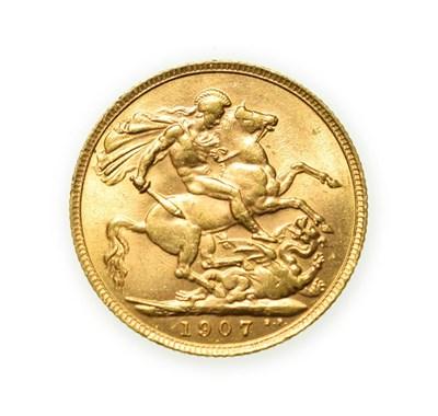 Lot 4078 - Edward VII, 1907 Sovereign. Obv: Bare head of Edward VII right, DES below truncation for...
