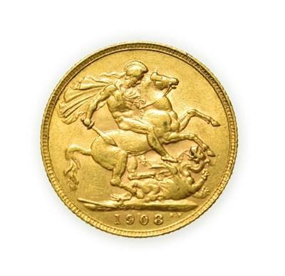 Lot 4079 - Edward VII, 1908 Sovereign. Obv: Bare head of Edward VII right, DES below truncation for...