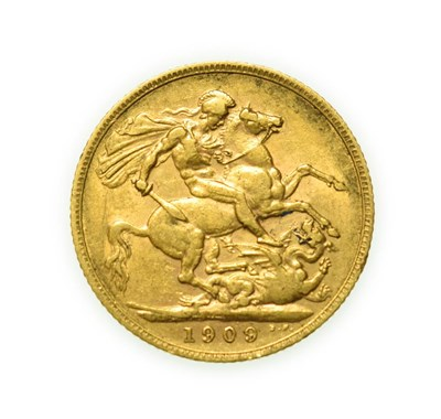 Lot 4081 - Edward VII, 1909 Sovereign. Obv: Bare head of Edward VII right, B.M. on truncation for engraver...