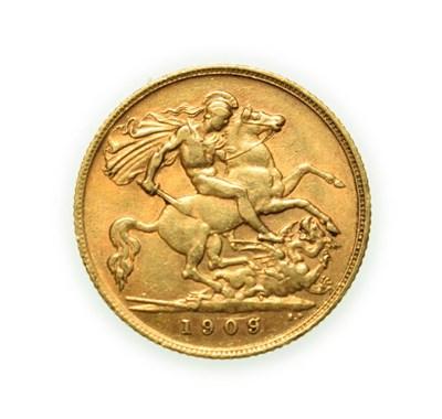Lot 4083 - Edward VII, 1909 Half-Sovereign. Bare head of Edward VII right, DES below truncation for...