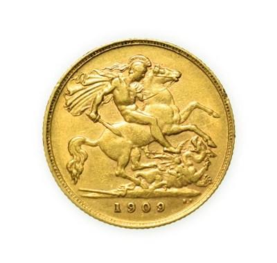 Lot 4085 - Edward VII, 1909 Half-Sovereign. Obv: Bare head of Edward VII right, DES below truncation for...