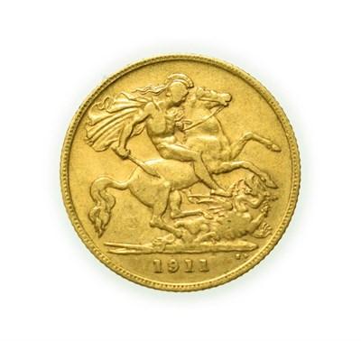Lot 4092 - George V, 1911 Half-Sovereign. Obv: Bare head of George V left, B.M. on truncation for engraver...