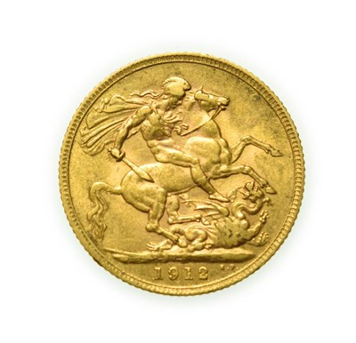 Lot 4093 - George V, 1912 Sovereign. Obv: Bare head of George V left, B.M. on truncation for engraver...