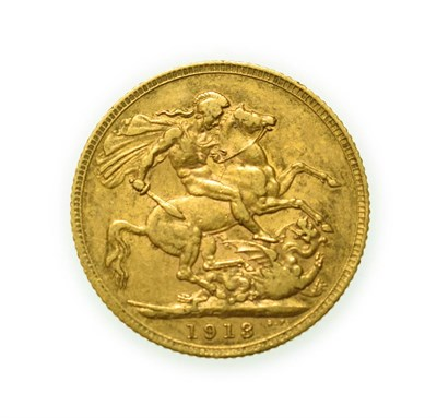 Lot 4095 - George V, 1913 Sovereign. Obv: Bare head of George V left, B.M. on truncation for engraver...