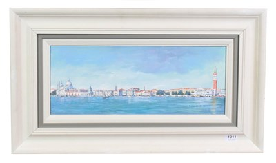 Lot 1011 - Hilary Burnett Cooper (Contemporary) ''Venice Panorama'' Signed, acrylic on canvas, 29.5cm by 50cm