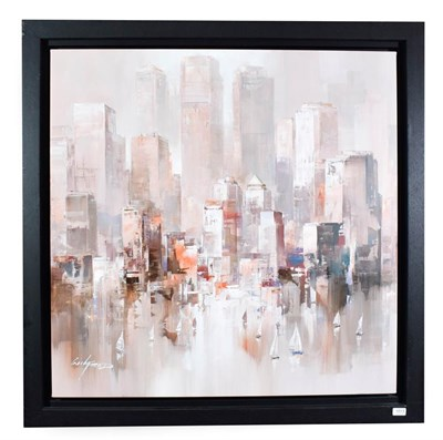 Lot 1013 - Wilfred (Contemporary) ''Reflection in the Harbour V'' Signed, oil on canvas, 96.5cm by 96.5cm...