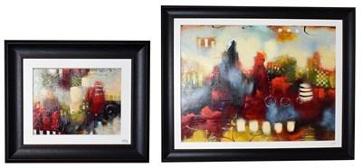 Lot 1016 - John and Elli Milan (Contemporary) ''Morning Mosaic V'' ''Urban Mosaic II'' Signed, mixed...