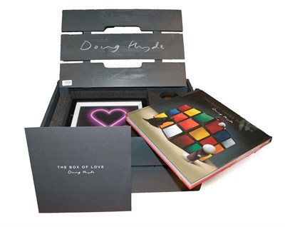 Lot 1034 - Doug Hyde (b.1972) ''Box of Love'' Crate containing four limited edition prints, a bronze sculpture