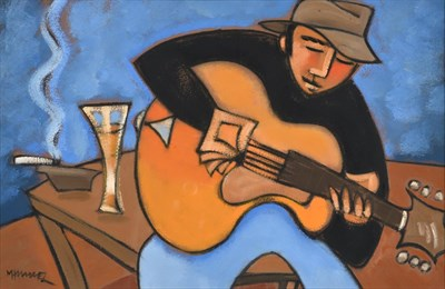 Lot 1035 - Marsha Hammel (b.1949) American ''Writing the Song''  Signed, oil on gesso, 38cm by 58.5cm     Sold