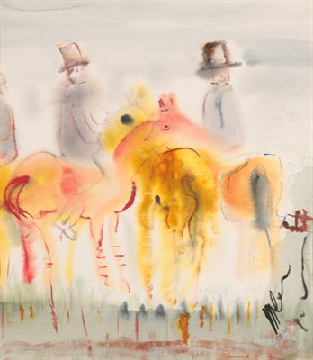 Lot 1040 - Michael Gibbison (b.1937) ''At the Meet'' Watercolour, 54cm by 46.5cm  Artist's Resale Rights/Droit