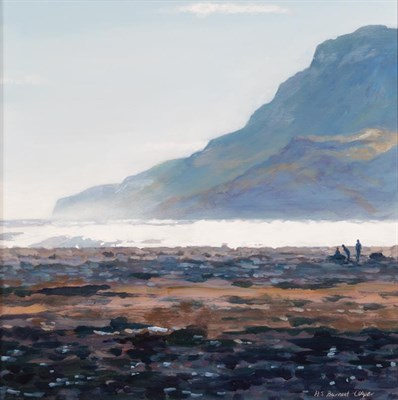 Lot 1041 - Hilary Burnett Cooper (Contemporary) Figures on a beach Signed, oil on board, 29cm by 29cm...