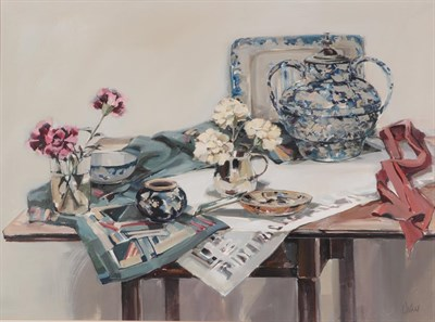 Lot 1047 - Ethel Walker (Contemporary) Scottish ''Table with cerise carnations'', 1992 Signed,...