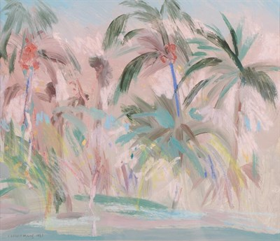 Lot 1049 - Irene Lesley Main (b.1959) Scottish ''Palm Trees, West Gulf Beach'' Signed and dated 1987,...
