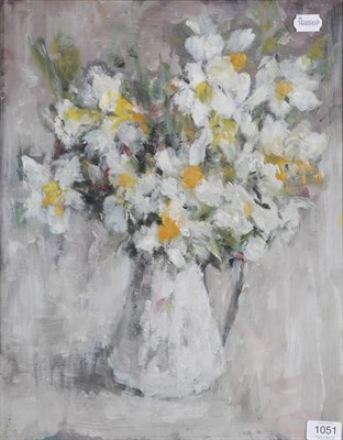 Lot 1051 - Lena Robb (1891-1980) ''Spring Flowers'' Signed and inscribed verso, oil on board, 49cm by 39cm...