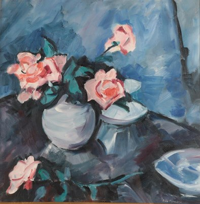 Lot 1053 - Anne Mendelow (b.1945) Still life of pink roses in a blue vase Signed, oil on canvas, 48cm by 48cm