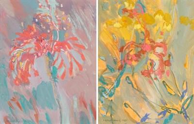 Lot 1056 - Irene Lesley Main (b.1959) Scottish ''Scarlet Flower, Sanibel'' Signed, mixed media, together...