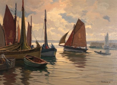 Lot 1057 - Paul André Jean Eschbach (1881-1961) French Fishing boats leaving a harbour Signed, oil on canvas